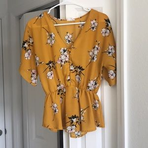 Size medium, yellow floral top